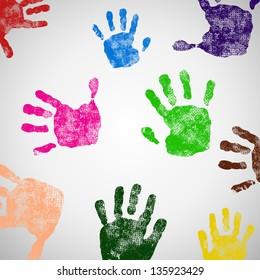 Colored Hand Print icon, vector illustration