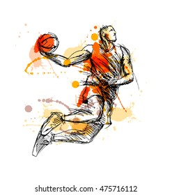 Colored hand sketch basketball player. Vector illustration