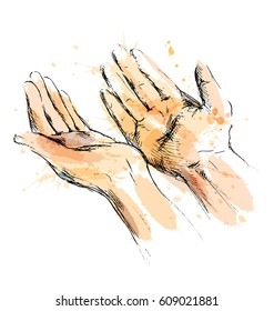 Colored hand sketch begging hands. Vector illustration