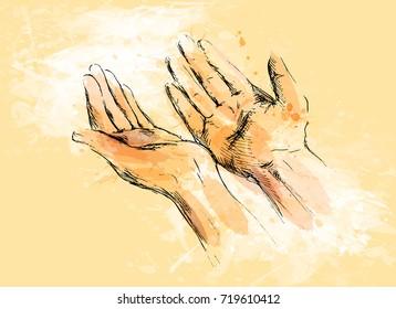 Colored hand sketch begging hands on a grunge background. Vector illustration