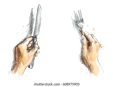 Colored hand sketch by hand with a knife and fork. Vector illustration