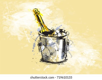 Colored hand sketch champagne on a grunge background. Vector illustration