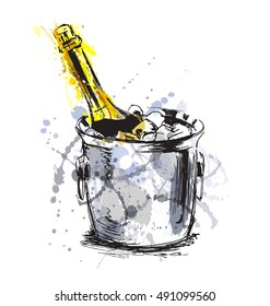 Colored hand sketch champagne. Vector illustration