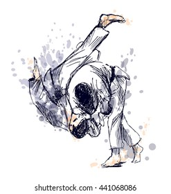 Colored hand sketch fighting judo. Vector illustration