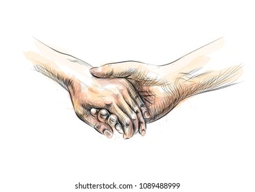 Colored hand sketch holding hands from a splash of watercolor. Vector illustration of paints