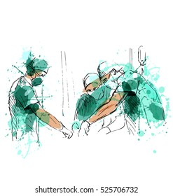 Colored hand sketch operating doctors. Vector illustration