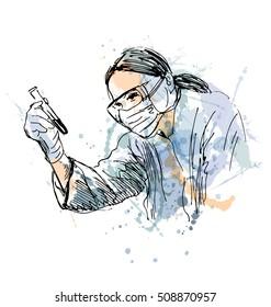 Colored hand sketch scientist. Vector illustration