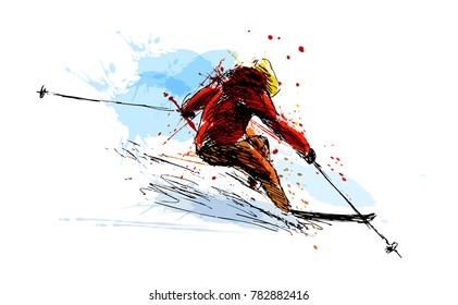 Colored hand sketch skier. Vector illustration