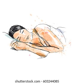 Colored hand sketch of a sleeping woman. Vector illustration