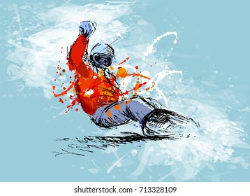 Colored hand sketch snowboarder on a grunge background. Vector illustration