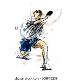 Colored hand sketch table tennis player. Vector illustration