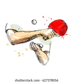 Colored hand sketch hand table tennis player. Vector illustration