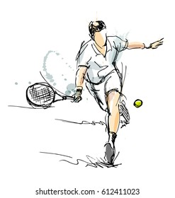 Colored hand sketch tennis player. Vector illustration