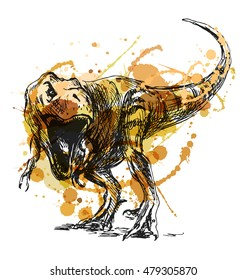 Colored hand sketch tyrannosaurus. Vector illustration