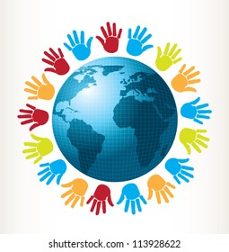 colored hands around of world over white background vector illustration