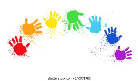 colored hands create rainbow, hands rainbow, colored hand print,