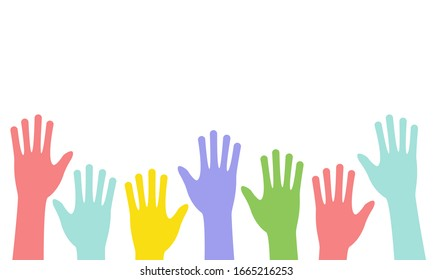 Colored hands raised up isolated on a white background. The concept of volunteering, inclusion, diversity. Banner design. Vector stock illustration.