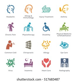 Colored Health Conditions & Diseases Icons - Sympa Series