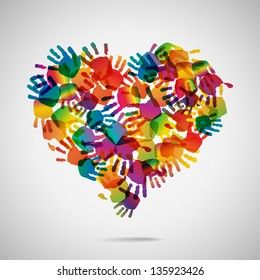 Colored heart from hand print icons, vector illustration