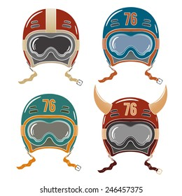 Colored helmets racer, snowboarder or skier in old-school style with safety goggles and horns.