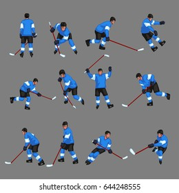 colored hockey player set 2