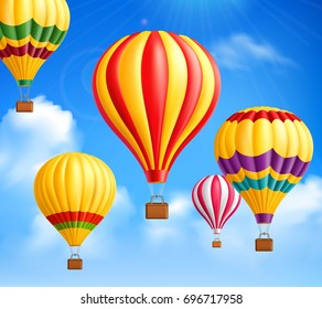 Colored hot air realistic balloons background against the sky with white clouds vector illustration