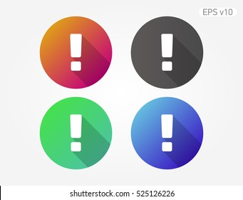 Colored icon of attention symbol with shadow