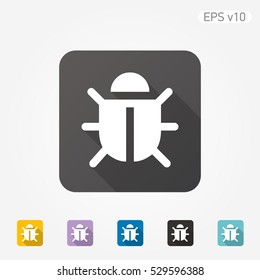 Colored icon of bug symbol with shadow