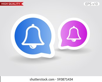 Colored icon or button of bell symbol with background