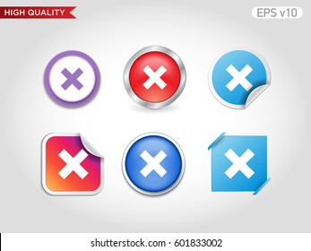 Colored icon or button of delete or cross symbol with background