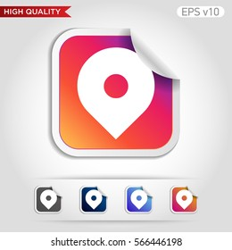 Colored icon or button of geo tag symbol with background