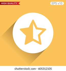 Colored icon or button of half star symbol with background