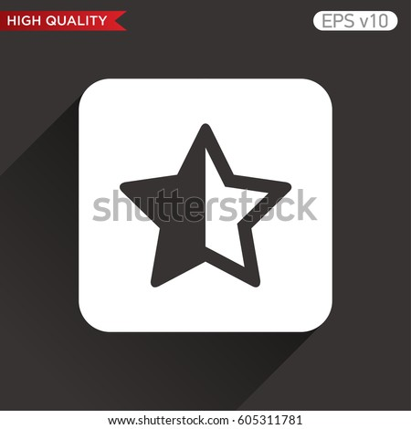 Colored Icon Button Half Star Symbol Stock Vector Royalty Free