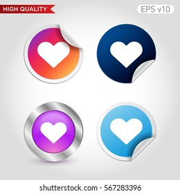 Colored icon or button of heart symbol with background