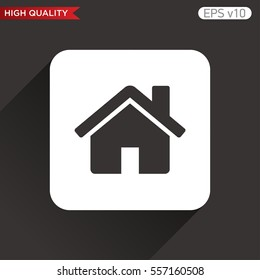 Colored icon or button of home or house symbol with background