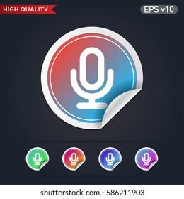 Colored icon or button of microphone symbol with background
