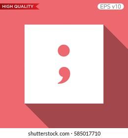Colored icon or button of semicolon symbol with background