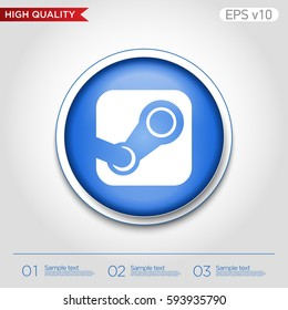 Colored icon or button of steam symbol with background