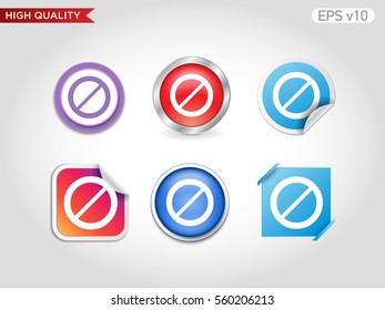 Colored icon or button of stop symbol with background