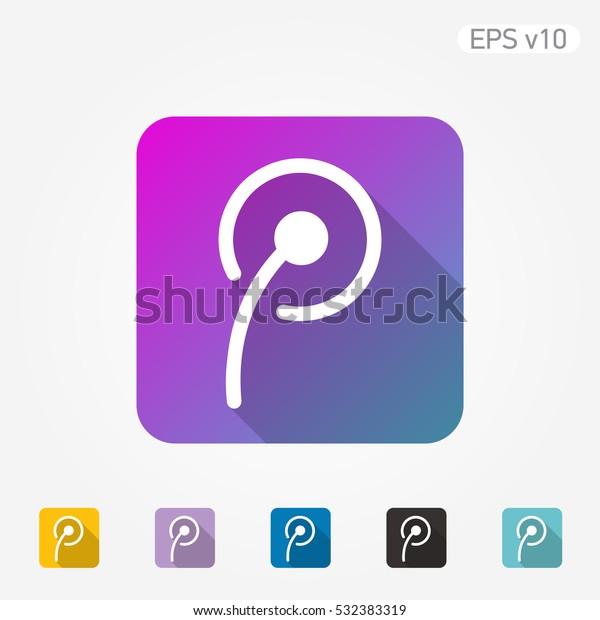 Colored Icon Dandelion Symbol Shadow Stock Vector Royalty Free
