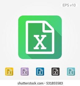 Colored icon of Excel document symbol with shadow