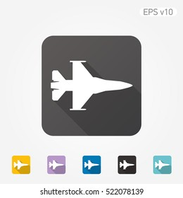 Colored icon of jet fighter symbol with shadow