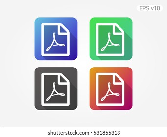 Colored icon of PDF document symbol with shadow
