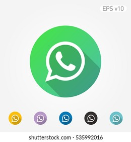Colored icon of phone symbol with shadow