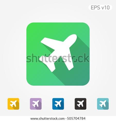 Colored Icon Plane Symbol Shadow Stock Vector Royalty Free