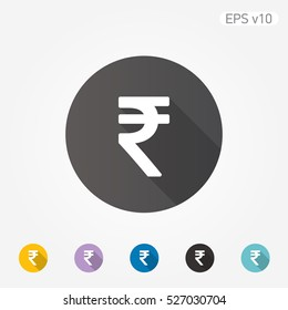 Colored icon of Rupee symbol with shadow