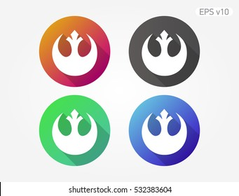 Colored icon of star wars symbol with shadow