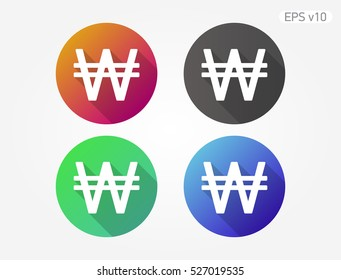 Colored icon of Won symbol with shadow