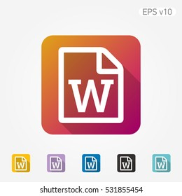 Colored icon of Word document symbol with shadow