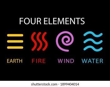 colored icons of the four elements of nature on a black background, vector illustration